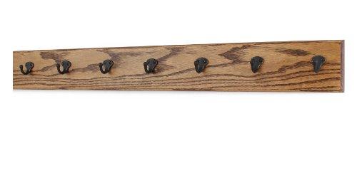Oak Wall Mounted Coat Rack with Aged Bronze Singular Style Hooks 45 Ultra Wide Chestnut 36 x 45 with 7 Hooks