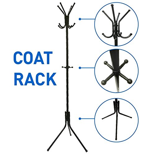 Liverpool Metal Coat Rack Stand – 6' Tall - Use with Jackets Hats Scarves Purses Suits Umbrellas and Backpacks - Entryway Coat Rack Hat Hanger