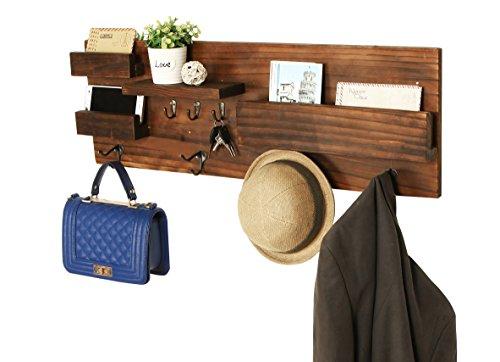 Wall Mounted Natural Wood Entryway Coat Racks Key Hooks Mail Holder Shelves - MyGift
