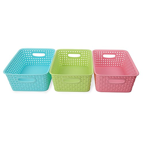 Nicesh Plastic Colored Storage Baskets Set of 3