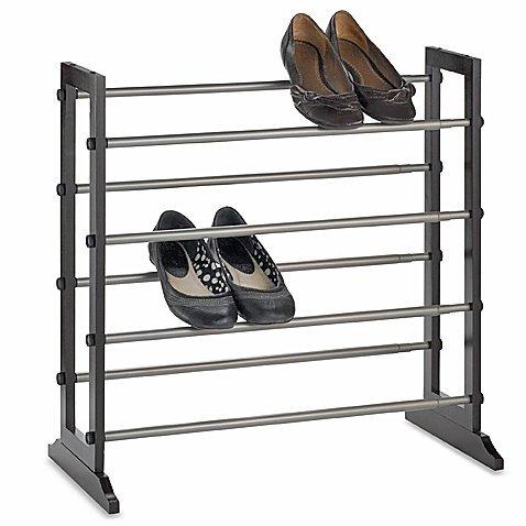 4-Tier Expandable Shoe Rack Storage Organizer Mahogany