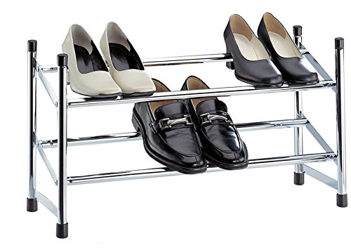 Organize It All 01731w Expandable Chrome Shoe Rack