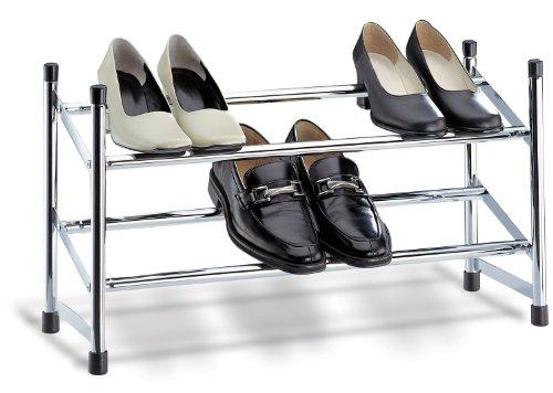 Organize It All Chrome Expandable Shoe Rack