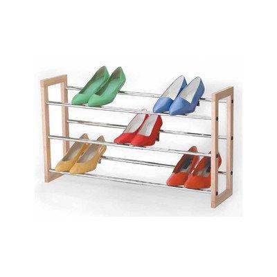 Richards Homewares Natural Wood 3 Tier Chrome Expandable Shoe Rack