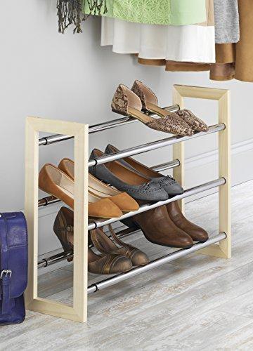 Whitmor Wood Chrome Shoe Rack-Natural Expandable Stacking