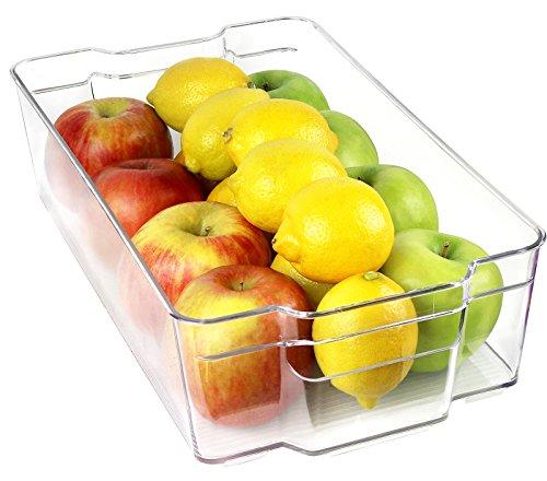 Greenco Refrigerator and Freezer Wide Storage Bin With Handles 148 x 83x 375 Clear