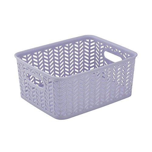 Lilac Plastic Herringbone Small Storage Tote