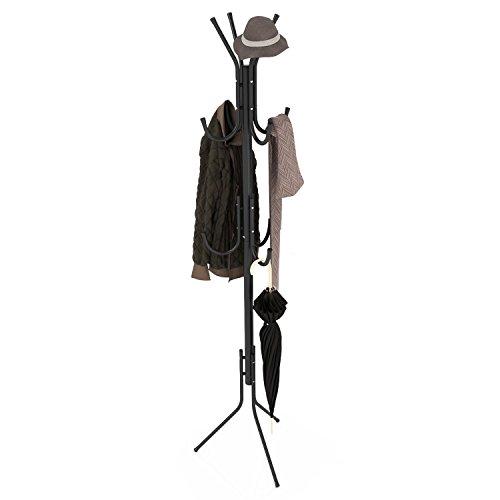 Fanala Iron Coat Rack Three-Legged Hat Bag Hanger Standing Hall Tree with Base 11 Hooks Black