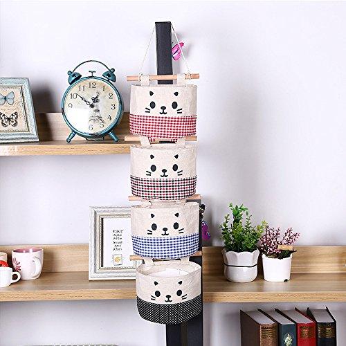 melupa Mini Hanging Storage Bag Cotton Linen Small Storage Basket Decor Bin Bag for Wall Door Closet